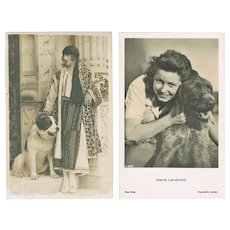 Two Movie Stars and their dogs. Vintage Photo Postcards - Red Tag Sale Item