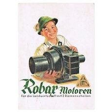 Robax Motors Advertising Postcard. WWII