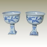 Pair of Porcelain Stem Cups from early Qing Period