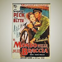 Gregory Peck: 2 Autographs on 1 Postcard. CoA