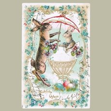 Easter Greeting Postcard with 2 Bunnies. Lithograph. 1906