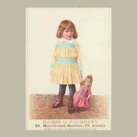 Lobby Card with Girl with Doll. France. App. 1910