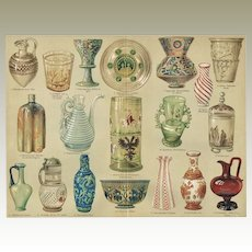Glass Industry. 2 Antique Chromolithographs from 1898