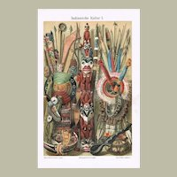 Indian Culture. Decorative Chromo Lithograph from 1900