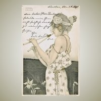 Raphael Kirchner Postcard Girl and Flute