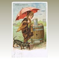 Munich Postcard with Dachshund