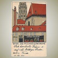 Wiener Werkstaette Postcard: Michaelerkirche by Urban Janke
