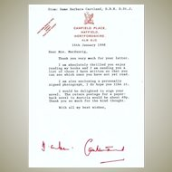 Dame Barbara Cartland Letter. CoA