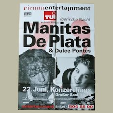 Manitas de Plata Autograph. CoA. Signed Poster