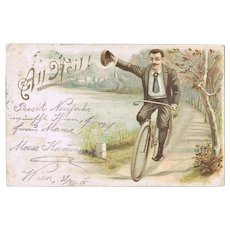 Bicycle Postcard from 1905 Lithographed