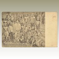 Scarce Malaysian Vintage Postcard. Australian Prospector and Sakai Guides.
