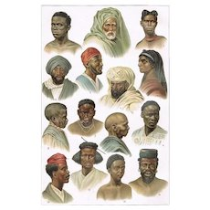 African Peoples Two old Lithographs from 1900