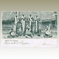 Singapore Vintage Postcard with Musicians to Italy