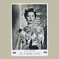 Ava Gardner Autograph on Photo Print. CoA
