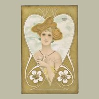 Raphael Kirchner Postcard Lady and Heart. Scarce