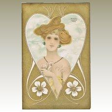 Raphael Kirchner Postcard Lady and Heart. Scarce