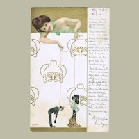 Raphael Kirchner Postcard Girl with Puppets 1904