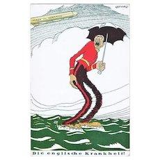 The English Disease WW1 Mocking Postcard