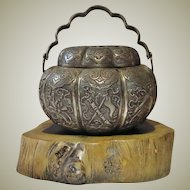 Antique Chinese Silver Censer Qing Dynasty