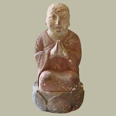 Antique Chinese Sculpture of a Praying Monk