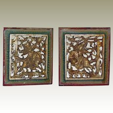 Pair of Chinese Carvings, original Colors Gilt Decoration