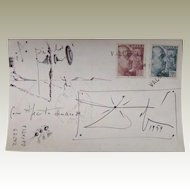 Salvador Dali Postcard with Drawing 1954
