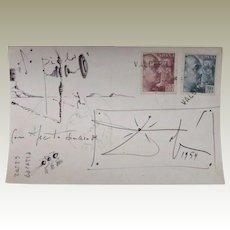 Salvador Dali Postcard with Drawing 1954