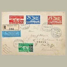 1936: Attractive Air Mail Switzerland to Romania
