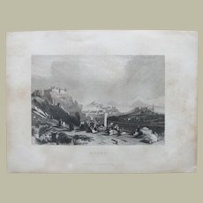 China, Macao: 19 Ct Etching with View from Hillside