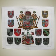 Prussian Coat of Arms Lithograph from 1900