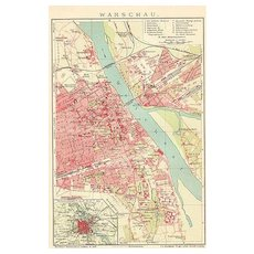 Poland 1900: Old Warsaw Map. Lithographed.