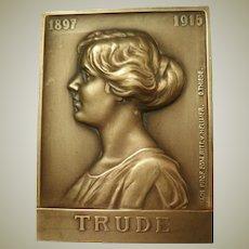Ritter von Hellmer Bronze Plaque 1915