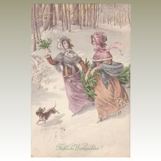 Ladies and Dachshund. Art Nouveau Xmas Postcard by Munk. 1913.