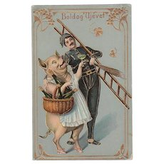 Decorative Postcard with huge Pig Art Nouveau New Year