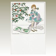 Christmas Postcard by Mela Koehler Girl with Doll