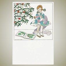 Christmas Postcard by Mela Koehler Girl with Doll