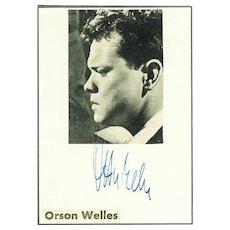 Orson Welles Autograph. COA