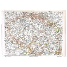 Imperial Austria Map with Bohemia, Moravia and Silesia 1900