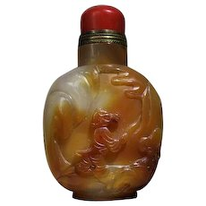 Chinese Agate Snuff Bottle with Boy and Mushroom