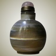 Old Chinese Snuff Bottle Banded Agate