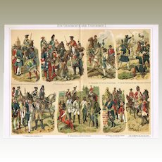 Uniforms: 2 decorative, antique Chromo Lithographs with Military Topics