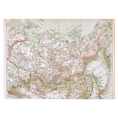 Antique Map of old Siberia, Russia, Manchuria, Mongolia from 1898