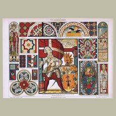 Glass Windows. Decorative Chromolithograph, 12 x 9, 1900