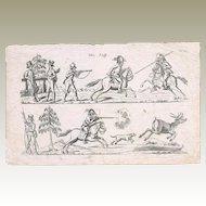 Antique Etching with Hunting Scene from ca. 1830