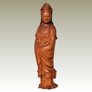 Wooden Guanyin Statuette from Republic of China Period