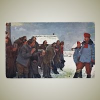 WWI Postcard Russian Peasants and Austrian Uhlans