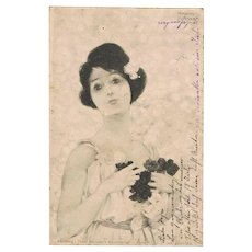 Raphael Kirchner Postcard Lady with Flowers Artist signed 1901