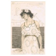 Raphael Kirchner Postcard Girl in Art Nouveau Dress 1901