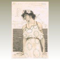 Raphael Kirchner Postcard Girl in Art Nouveau Dress 1901