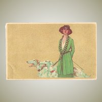 Italian Art Nouveau Postcard Lady  with Borzios